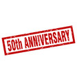 square grunge red 50th anniversary stamp vector image vector image