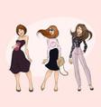 three modern beautiful girls vector image vector image