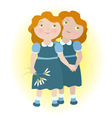 Twin girls holding hands zodiac sign Gemini vector image