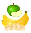 two yellow bananas and chopped banana slices and vector image vector image