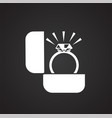 wedding ring icon on black background for graphic vector image vector image