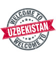 welcome to uzbekistan red round vintage stamp vector image vector image