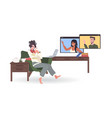 woman chatting with mix race colleagues in web vector image vector image