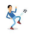 active young boy kicking a soccer ball cartoon vector image