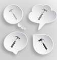Hammer White flat buttons on gray background vector image