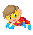 boy in red super hero costume and mask vector image