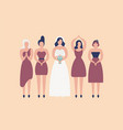 bride in elegant white gown and bridesmaids vector image vector image