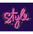 bright pink lettering style on dark backg vector image