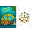 cartoon camping colorful concept vector image vector image