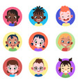 children avatar faces childhood cute kids boys vector image vector image