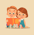 children brother and sister characters read book vector image vector image