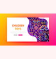 children toys neon landing page vector image vector image