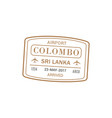 colombo airport stamp isolated vector image vector image