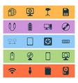 computer icons set with usb cable wifi webcam vector image
