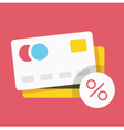 Credit Card and Percent Sign Icon vector image vector image