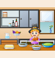 cute boy holding a roasted on the dining table vector image vector image