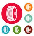 Disk icons circle set vector image