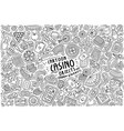 doodle cartoon set casino objects and symbols vector image
