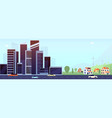 downtown and suburb flat city modern office vector image vector image