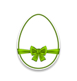 Easter egg wrapping green bow isolated on white vector image vector image