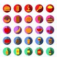 food and drink icon set color and long shadow vector image vector image