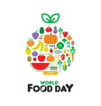 food day card with fruit and vegetable icons vector image vector image