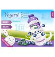 fruit yogurt with berries advert concept white vector image