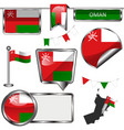 glossy icons with flag of oman vector image vector image
