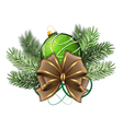 Green Christmas ball with bow vector image vector image