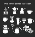 hand drawn coffee design set vintage vector image