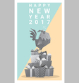 Happy new year 2017 card with rooster 10 vector image vector image