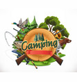hunting and fishing 3d emblem vector image vector image