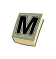 Letter M on cover of retro books Concept of vector image