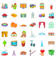 metropolis icons set cartoon style vector image vector image