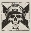 music skull vintage grunge design vector image vector image