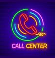 neon icon for call center vector image