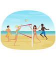 people having fun playing volleyball on beach vector image