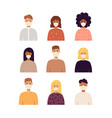 people with masks portraits set vector image