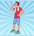 pop art muscular man drinking protein shake vector image vector image