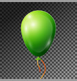 realistic green balloon with ribbon isolated vector image vector image