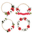 red and white anemone or poppy flower wreath vector image