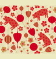 seamless pattern with chinese new year 2019 zodiac vector image