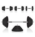 Set of dumbbells weights vector image vector image