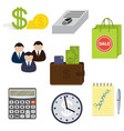 set of eight business items isolated on a white vector image vector image