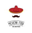sombrero and mustache mexican food badge vector image vector image