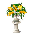 vintage marble vase with flowers in the form of an vector image vector image