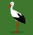 white stork cartoon bird vector image vector image