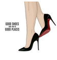 woman beautiful legs on stileto high heels shoes vector image vector image