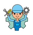 worker man holding gear and tools automotive vector image