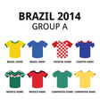 World Cup Brazil 2014 - group A teams jerseys vector image